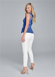 Back View Ring Detail Peplum Top