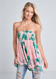 Front View Palm Print Strapless Lace Detail Top