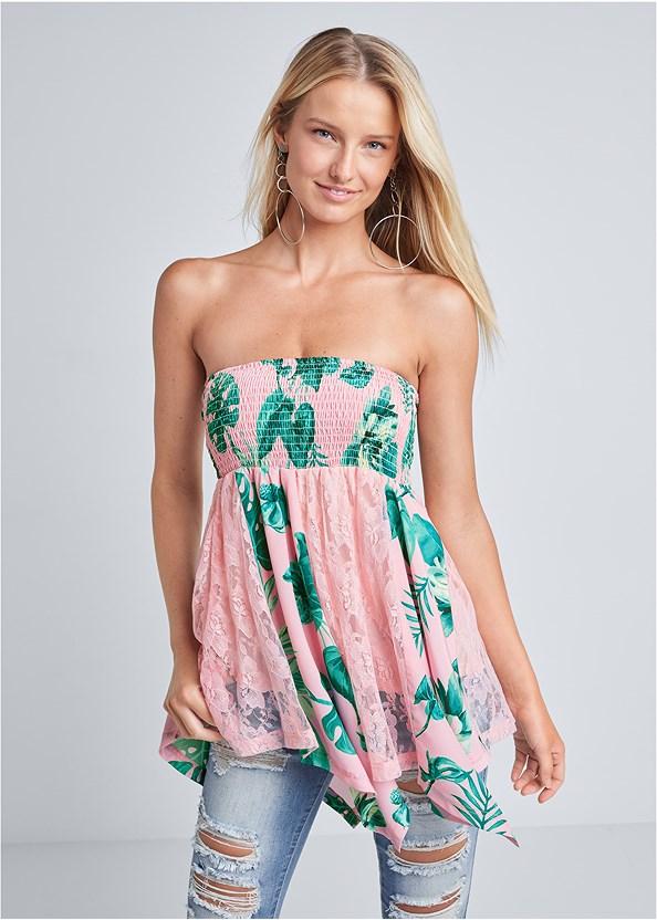 Palm Print Strapless Lace Detail Top,Distressed Jean Capris