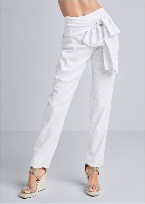 Front View Linen Wrap Front Pants