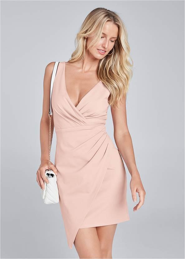 Faux Wrap Mini Dress,Square Toe Thong Heel Sandal,Animal Chain Crossbody Bag