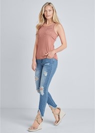 Front View Embellished Sleeveless Top