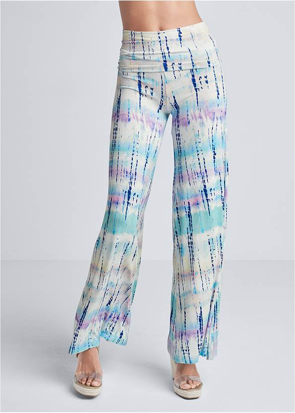 Front View Tie Dye Fold Over Pants