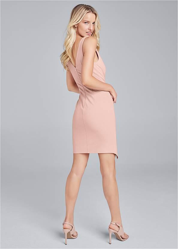 Back View Faux Wrap Mini Dress
