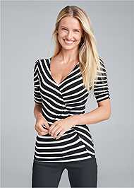 Front View Ruched V-Neck Top