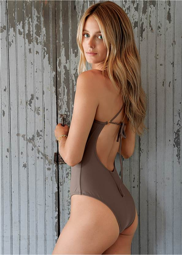 Cropped back view Sports Illustrated Swim™ Necklace One-Piece
