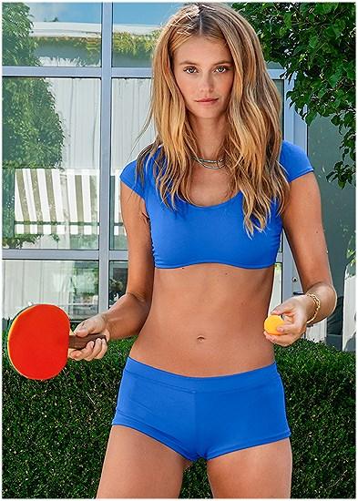 Sports Illustrated Swim™ Cap Sleeve Crop Top
