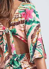 Alternate View Palm Print Open Back Romper