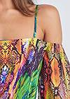 Detail front view Printed Cold Shoulder Top