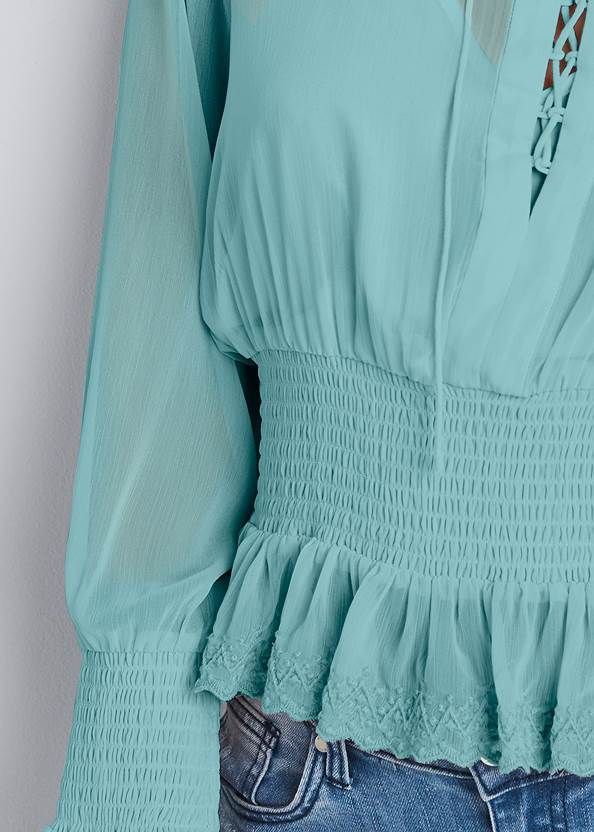 Detail front view Smocked Lace Up Blouse