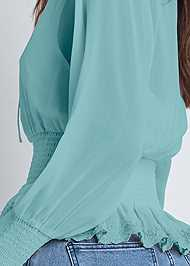 Detail back view Smocked Lace Up Blouse