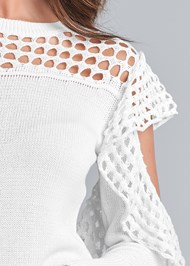 Detail front view Cold Shoulder Sweater