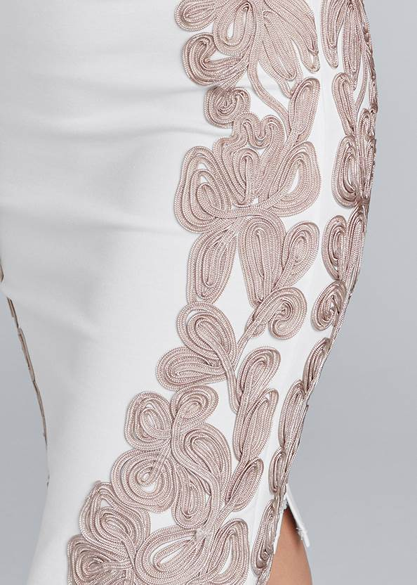 Detail front view Embroidered Bodycon Dress