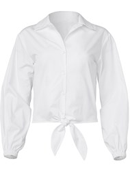 Alternate View Button Up Tie Front Blouse
