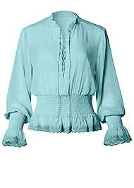 Alternate View Smocked Lace Up Blouse