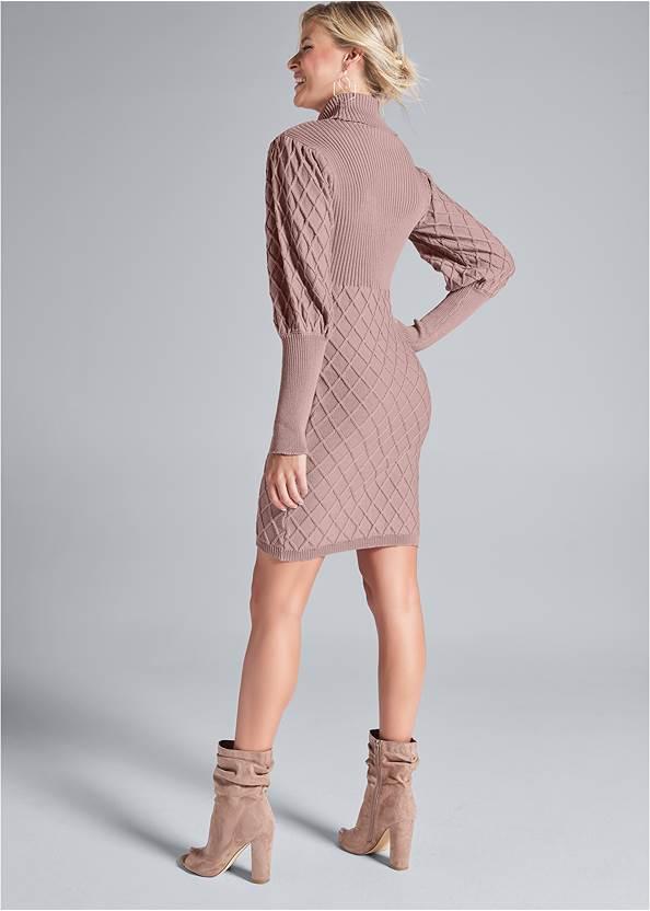 Back View Puff Detail Sweater Dress