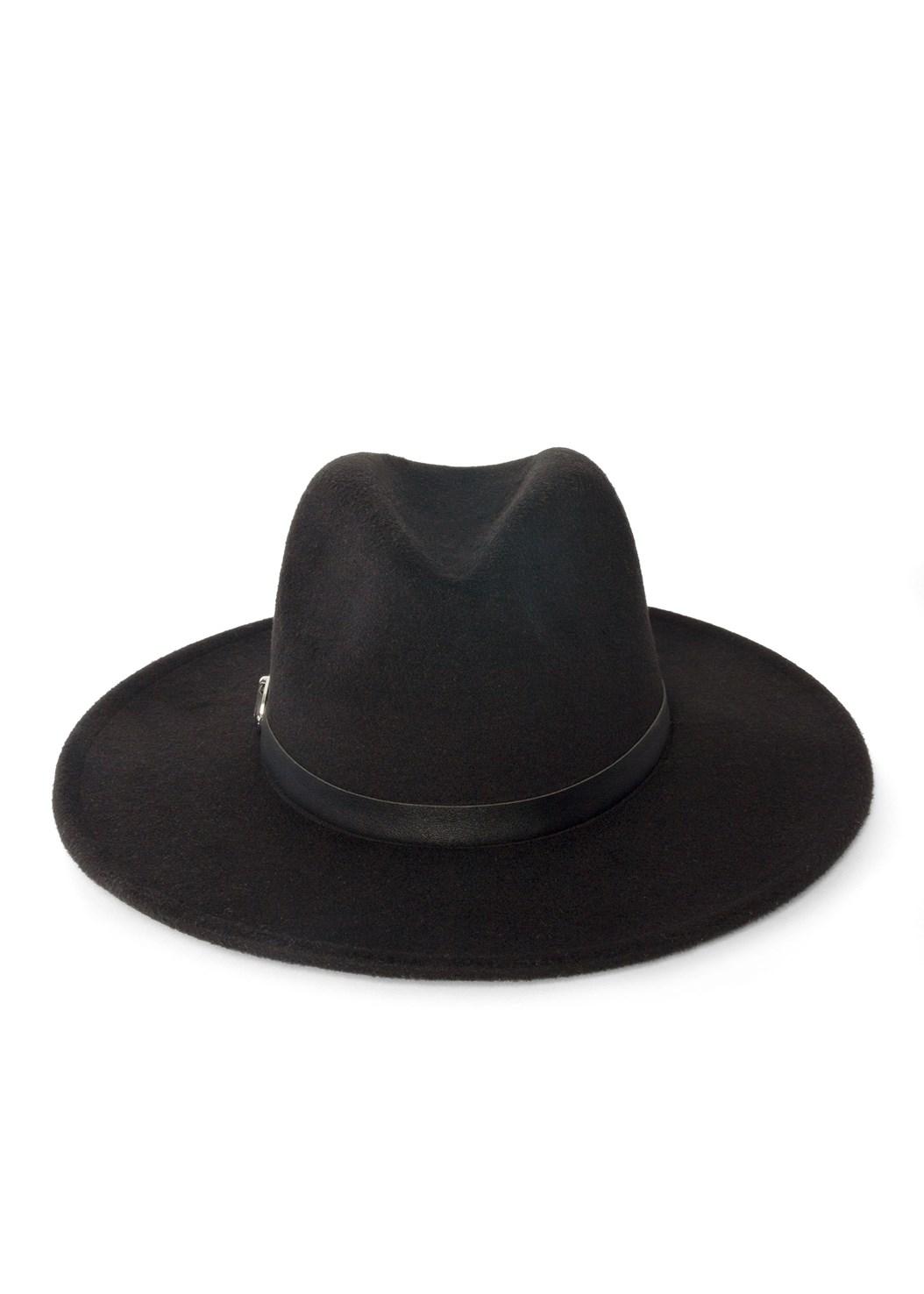 Wide Brim Buckle Hat,Paisely Printed Wrap Dress,Open Heel Booties,Studded Matte Hoops