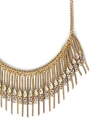 Flatshot  view Rhinestone Fringe Necklace