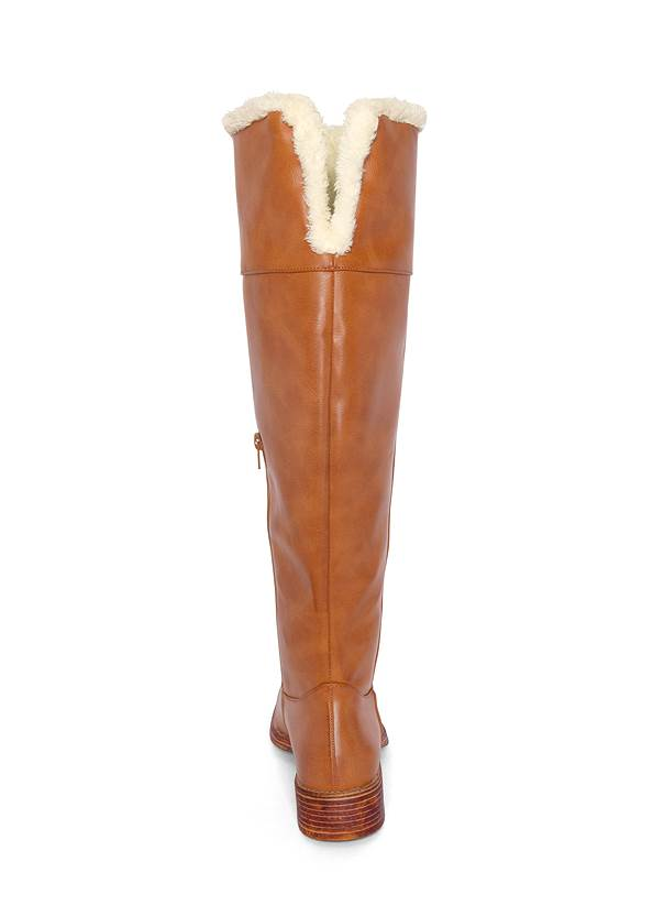 Back View Faux Shearling Detail Boot