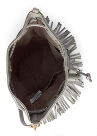 Flatshot open view Fringe Bucket Bag