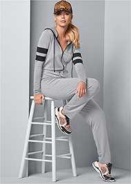 Front View Stripe Lounge Jumpsuit