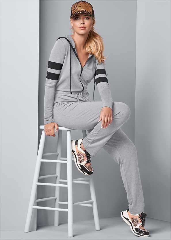 Stripe Lounge Jumpsuit,Seamless Underwire Bra,Animal Print Sneakers,Quilted Belt Bag,Woven Handbag