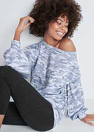 Front View Camo Lace Up Sweatshirt