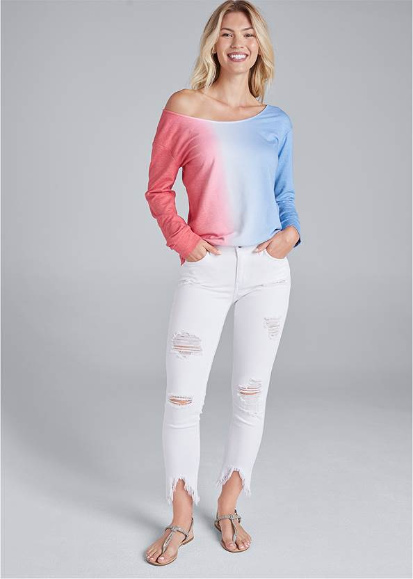 Full front view Easy Off The Shoulder Sweatshirt