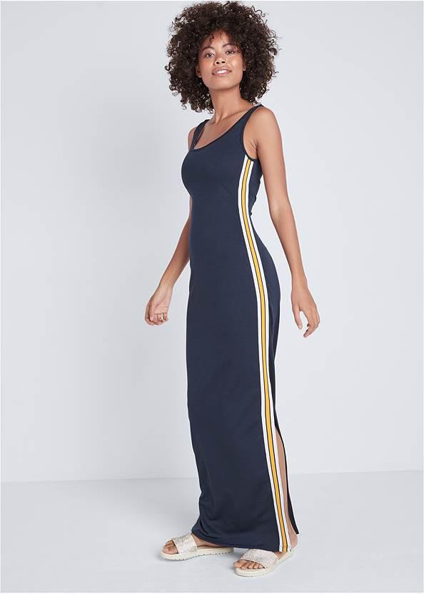 Side Stripe Lounge Maxi Dress,Embellished Slides,Circle Detail Handbag