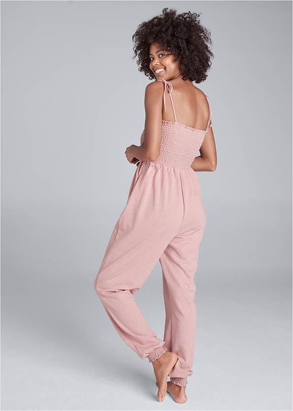 Full back view Smocked Lounge Jumpsuit