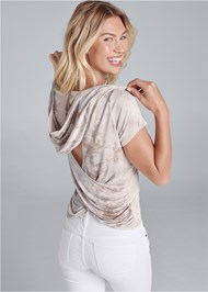 Back View Tie Dye Back Surplice Top