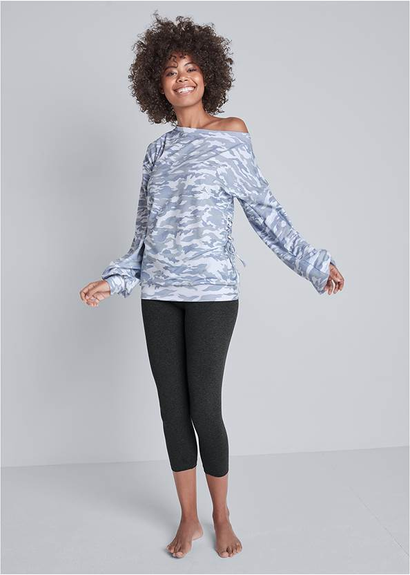 Full front view Camo Lace Up Sweatshirt