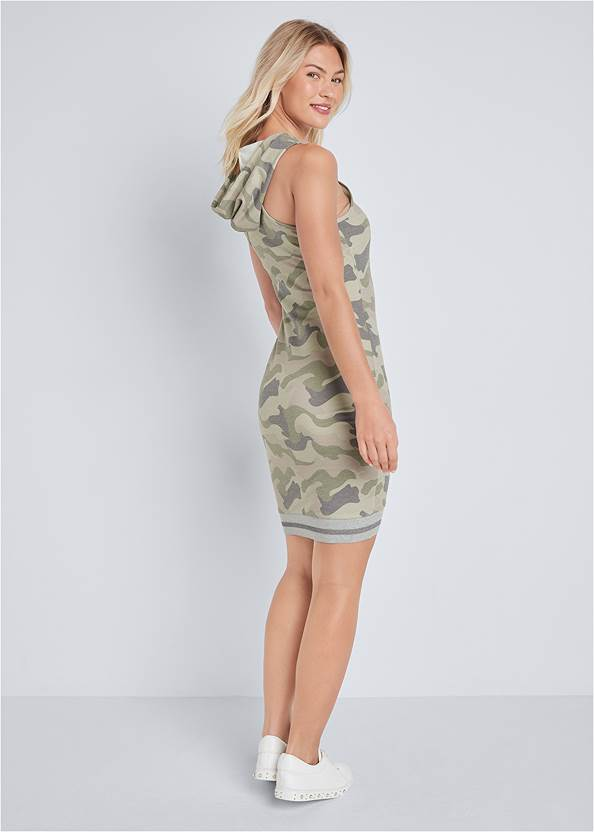 Back View Hooded Detail Dress