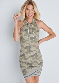 Front View Hooded Detail Dress