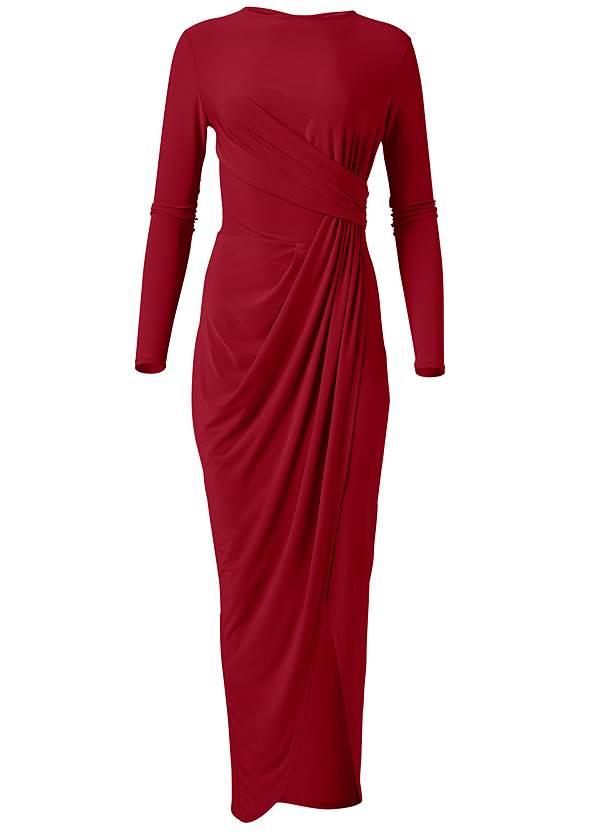 Alternate View Drape Front Long Dress