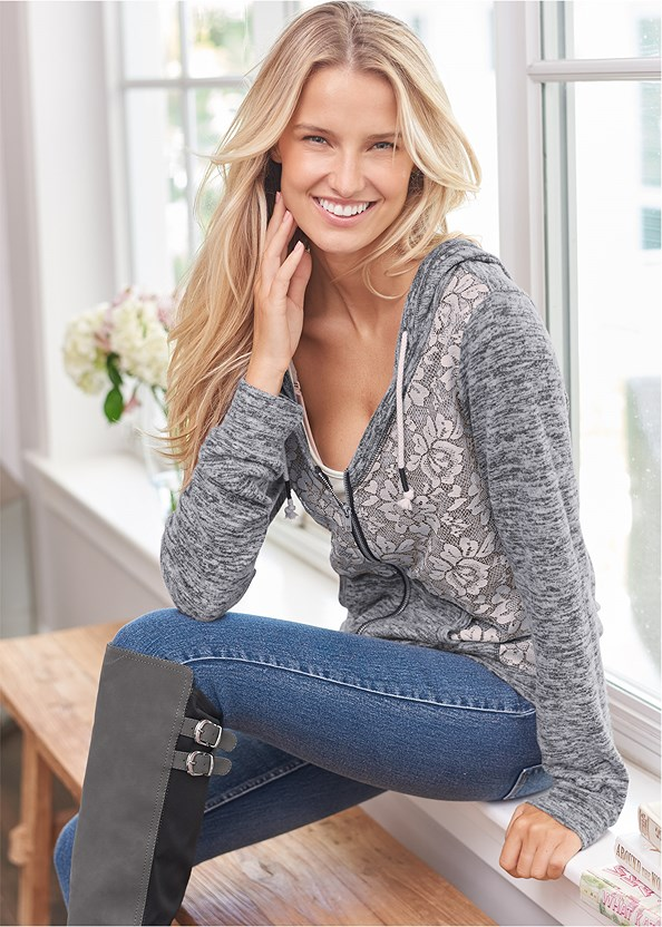 Heather Lace Lounge Jacket,Basic Cami Two Pack,Mid Rise Color Skinny Jeans,Washed Kick Flare Jeans
