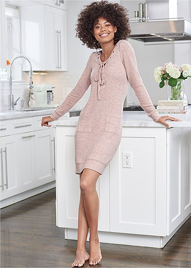 Cozy Hacci Lace Up Sweatshirt Dress