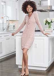 Full Front View Cozy Hacci Lace Up Sweatshirt Dress
