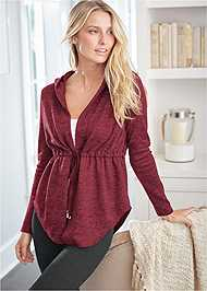 Cropped front view Cozy Drawstring Tie Jacket