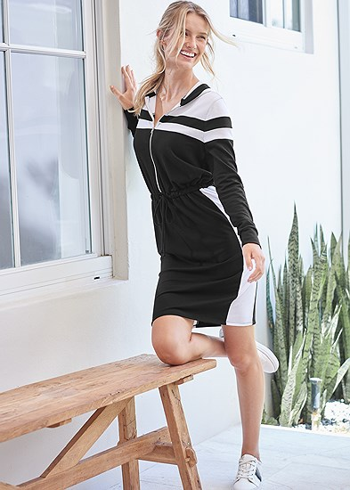 hooded zip lounge dress