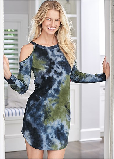 tie dye cold shoulder dress