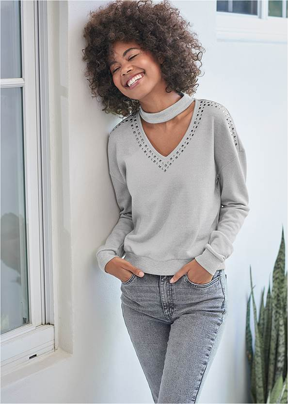 Studded Lounge Sweatshirt,Washed Kick Flare Jeans,Mid Rise Color Skinny Jeans