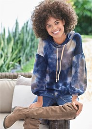 Alternate View Tie Dye Waffle Knit Top