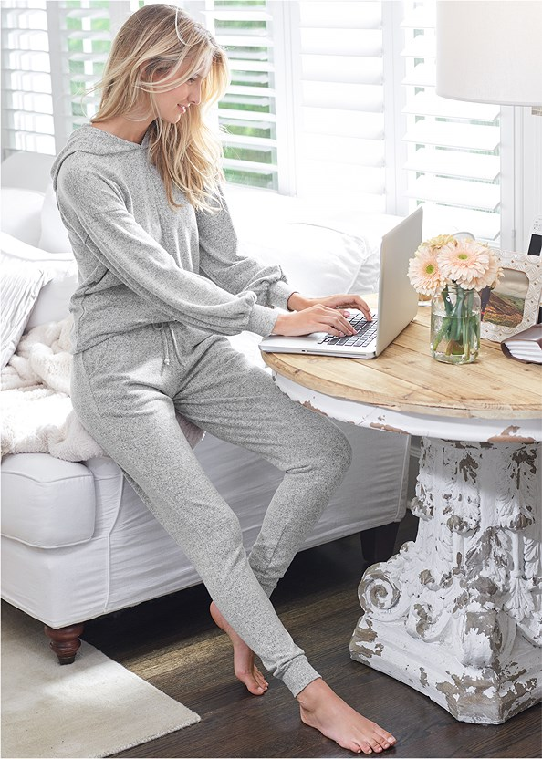 Cozy Lounge Hacci Joggers,Cozy Knot Detail Hacci Sweatshirt,Basic Cami Two Pack,Lace Cami,Full Figure Strapless Bra