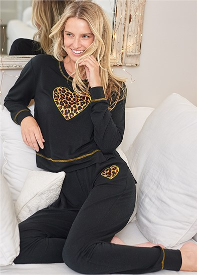 Leopard Heart Lounge Set