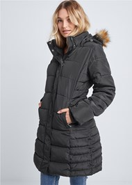 Front View Hooded Long Puffer Coat