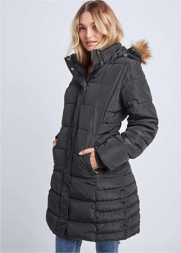 Hooded Long Puffer Coat,Mid Rise Color Skinny Jeans,Stretch Back Boots