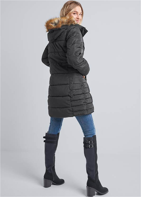 Back View Hooded Long Puffer Coat