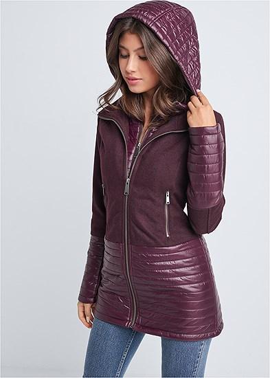 Faux Wool Puffer Coat