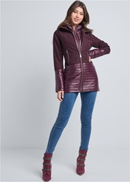 Front View Faux Wool Puffer Coat